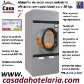 Máquina de Secar Roupa Industrial Eléctrica para 18 kg com Rotação Alternada do Tambor e Painel Digital Multilinguas, 24400 Watts (transporte incluído) - Refª 101573