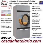 Máquina de Secar Roupa Industrial Eléctrica para 34 kg com Rotação Alternada do Tambor e Painel Digital Multilinguas, 37100 Watts (transporte incluído) - Refª 101575