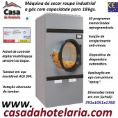 Máquina de Secar Roupa Industrial a Gás para 18 kg com Rotação Alternada do Tambor, Painel Digital (transporte incluído) - Refª 101578
