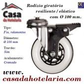 Rodízio Giratório Resiliente com Travão e Ø de 100 mm - Refª 101588