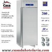 Armário de Congelação em Inox de Pastelaria para 20x 600x400 mm, -10º -20º C, 700 Litros (transporte incluído) - Refª 101606