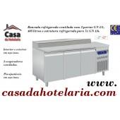 Bancada Refrigerada de 405 Litros com 3 Portas GN 1/1 e Estrutura Refrigerada para 7x GN 1/6 (transporte incluído) - Refª 101608