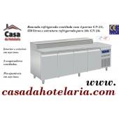 Bancada Refrigerada de 550 Litros com 4 Portas GN 1/1 e Estrutura Refrigerada para 10x GN 1/6 (transporte incluído) - Refª 101609