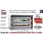 Forno de Pizzas Eléctrico de Largura Extra para 2x 9 Pizzas Ø 350 mm (transporte incluído) - Refª 101611