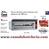 Forno de Pizzas Eléctrico de Largura Extra para 9 Pizzas Ø 350 mm (transporte incluído) - Refª 101615
