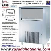 Fabricador de Cubos de Gelo com 18 gr, 155 kg/24h, Reserva 65 kg. Condensação a Ar, Monofásico (transporte incluído) - Refª 101628