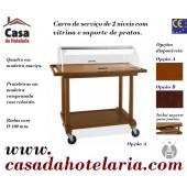 Carro de Serviço para Hotelaria de 2 Níveis com Vitrina e Suporte para Pratos (transporte incluído) - Refª 101648
