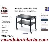 Carro de Serviço para Hotelaria de 2 Níveis com 1000x560x840 mm (LxPxA) (transporte incluído) - Refª 101656