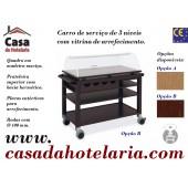 Carro de Serviço para Hotelaria de 3 Níveis com Vitrina de 1050x550 mm com Bacia de Arrefecimento (transporte incluído) - Refª 101690