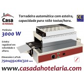 Torradeira Automática de 3 kW com Esteira, Capacidade até 1080 Tostas/Hora, Monofásica (transporte incluído) - Refª 101706
