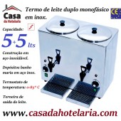Termo de Leite Duplo Monofásico para 5+5 Litros, 2400 Watts (transporte incluído) - Refª 101726