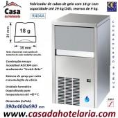 Fabricador de Cubos de Gelo com 18 gr, 29 kg/24h, Reserva 9 kg. Condensação a Água, Monofásico (transporte incluído) - Refª 101811