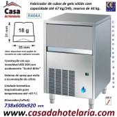 Fabricador de Cubos de Gelo com 18 gr, 67 kg/24h, Reserva 40 kg. Condensação a Água, Monofásico (transporte incluído) - Refª 101814