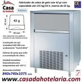 Fabricador de Cubos de Gelo com 42 gr, 155 kg/24h, Reserva 65 kg. Condensação a Ar, Monofásico (transporte incluído) - Refª 101817