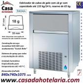 Fabricador de Cubos de Gelo com 18 gr, 155 kg/24h, Reserva 65 kg. Condensação a Água, Monofásico (transporte incluído) - Refª 101818