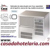 Fabricador Encastrável de Cubos de Gelo com 13 gr, 22 kg/24h, Reserva 4 kg. Condensação a Ar, Monofásico (transporte incluído) - Refª 101819