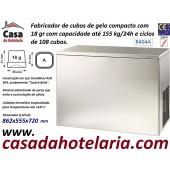 Fabricador de Cubos de Gelo com 18 gr, 155 kg/24h, 108 cubos por ciclo. Condensação a Ar, Monofásico (transporte incluído) - Refª 101822