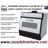 Grelhador Industrial a Carvão de Cor Preta e Exterior em Inox com Potência Equivalente a 4500 Watt (transporte incluído) - Refª 101832