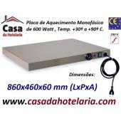 Placa de Aquecimento Monofásica com 860x460x60 mm LxPxA, 600 Watt, +30º +90º C (transporte incluído) - Refª 101860