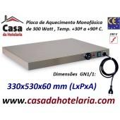Placa de Aquecimento Monofásica GN 1/1 com 330x530x60 mm LxPxA, 300 Watt, +30º +90º C (transporte incluído) - Refª 101861