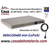 Placa de Aquecimento Monofásica 2x GN 1/1 com 660x530x60 mm LxPxA, 600 Watt, +30º +90º C (transporte incluído) - Refª 101862