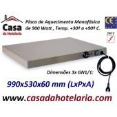 Placa de Aquecimento Monofásica 3x GN 1/1 com 990x530x60 mm LxPxA, 900 Watt, +30º +90º C (transporte incluído) - Refª 101863