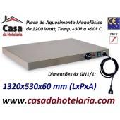 Placa de Aquecimento Monofásica 4x GN 1/1 com 1320x530x60 mm LxPxA, 1200 Watt, +30º +90º C (transporte incluído) - Refª 101864