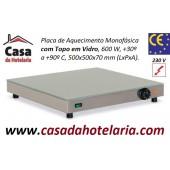 Placa de Aquecimento Monofásica com Topo em Vidro, 500x500x70 mm LxPxA, 600 Watt, +30º +90º C (transporte incluído) - Refª 101865