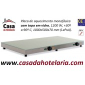 Placa de Aquecimento Monofásica com Topo em Vidro, 1000x500x70 mm LxPxA, 1200 Watt, +30º +90º C (transporte incluído) - Refª 101866