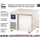 Abatedor de Temperatura Ultracongelador em Aço Inox de Controle Digital com 3x Níveis GN 1/1 ou 3x 600x400 mm, +70°-18° C (transporte incluído) - Refª 101892
