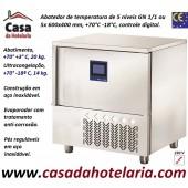 Abatedor de Temperatura Ultracongelador em Aço Inox de Controle Digital com 5x Níveis GN 1/1 ou 5x 600x400 mm, +70°-18° C (transporte incluído) - Refª 101893