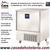 Abatedor de Temperatura Ultracongelador em Aço Inox de Controle Digital com 7x Níveis GN 1/1 ou 7x 600x400 mm, +70°-18° C (transporte incluído) - Refª 101894