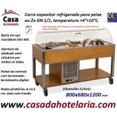 Carro Expositor Refrigerado para Peixe, 2x GN 1/1, Temp. +4º+10º C, Carvalho (transporte incluído) - Refª 101917