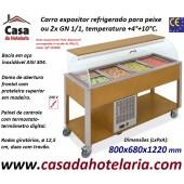 Carro Expositor Refrigerado para Peixe, 2x GN 1/1, Temp. +4º+10º C, Carvalho (transporte incluído) - Refª 101924