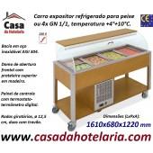 Carro Expositor Refrigerado para Peixe, 4x GN 1/1, Temp. +4º+10º C, Carvalho (transporte incluído) - Refª 101926