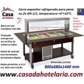 Carro Expositor Refrigerado para Peixe ou 2x GN 1/1, Temp. +4º+10º C, Wengué (transporte incluído) - Refª 101927