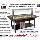 Carro Expositor Refrigerado para Peixe ou 4x GN 1/1, Temp. +4º+10º C, Wengué (transporte incluído) - Refª 101929