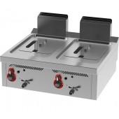 Fritadeira Industrial a Gás da Linha 750 com 2 Cubas de 12+12 Litros, +110º a +190º C, 15480 kcal/h (transporte incluído) - Refª 102241
