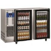 Bancada Refrigerada para Garrafas em Aço Inoxidável com 2 Portas de Vidro e Capacidade para 375 Litros, +1º +8º C (transporte incluído) - Refª 102293