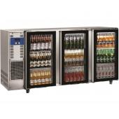 Bancada Refrigerada para Garrafas em Aço Inoxidável com 3 Portas de Vidro e Capacidade para 579 Litros, +1º +8º C (transporte incluído) - Refª 102294