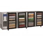 Bancada Refrigerada para Garrafas em Aço Inoxidável com 4 Portas de Vidro e Capacidade para 783 Litros, +1º +8º C (transporte incluído) - Refª 102295