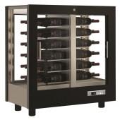 Armário Refrigerado Ventilado, Vitrina para Vinhos, Adega Preta com Portas em Vidro, Capacidade para 216 Litros, +4º +16º C (transporte incluído) - Refª 102334