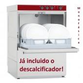 Máquina de Lavar Louça Profissional Industrial Monofásica com Cesto de 500x500 mm e Descalcificador (transporte incluído) - Refª 102356