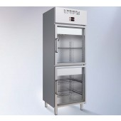 Armário Congelação Industrial em Inox GN 1/1 da linha 600 de 438 Litros com 2 Compartimentos Independentes com Portas de Vidro, -17º-20º C / -17º-20º C (transporte incluído) - Refª 102369