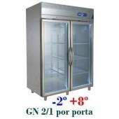 Armário Refrigerado Expositor em Inox de 1400 Litros com Portas de Vidro (transporte incluído) - Refª 101232