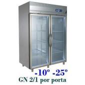 Armário Expositor de Congelação em Inox de 1400 Litros com Portas de Vidro (transporte incluído) - Refª 101233