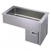 Unidade de Refrigeração de Encastrar com Bacia 4x GN 1/1 de 150 mm, +2º +8º C (transporte incluído) - Refª 100325