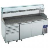 Mesa de Preparação de Pizzas, 395 Lts + Estrutura Refrigerada 10x GN 1/4 150 mm (transporte incluído) - Refª 100925